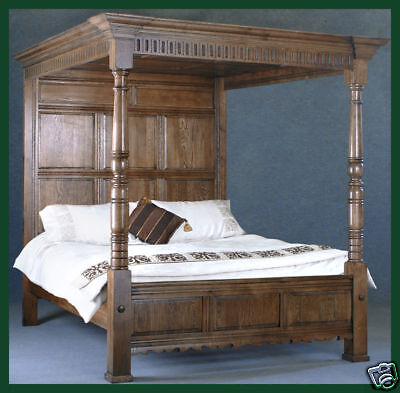 Solid Oak Bed King Size Four Poster Bed