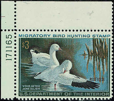 """Rw#37 Plate #171165 1970 $3 """"Ross's Geese"""" Duck Stamp Mint-Og/Nh--Vf"""