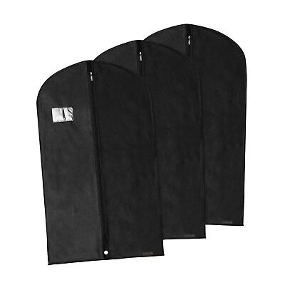 "3 Black Breathable Clothes Covers Suit Garment Protector Bags 40"" Hangerworld"