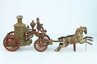 Antique Cast Iron Toy 2-Horse Drawn Fire Pumper Wagon
