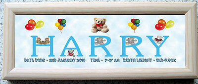 Personalised Baby Birth Plaque Boy - Girl In Pine Frame