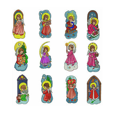 """ABC Designs Christmas Angels - 12 Machine Embroidery Designs 5""""x7"""" Hoop"""