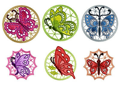 "ABC Designs 6 Butterfly STANDALONE LACE Medallions Embroidery Designs 4""x4"" hoop"