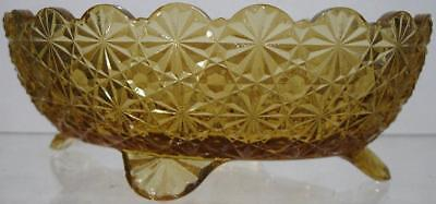 1900's~Amber Pattern Glass Buttons & Bows~Footed Bowl