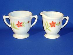 Macbeth Evans Petalware Floral Design Cream & Sugar Set