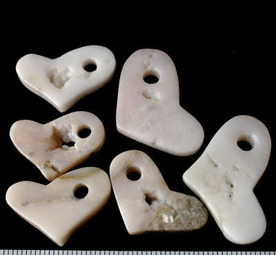"""Nice Lot of SIX (6) Natural PINK OPAL HEART PENDANTS ~ 1 1/4"""" to 1 3/4"""""""