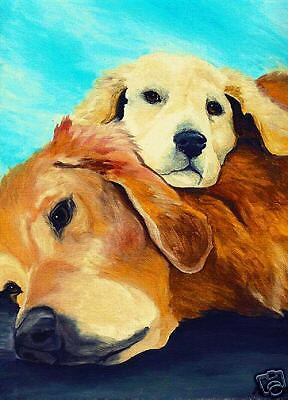 GOLDEN RETRIEVER SS dog art PRINT of Painting by VERN