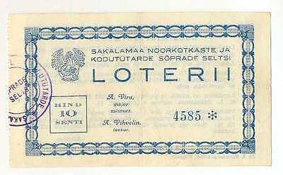 Estonia Young Eagles Sakalamaa Lottery Ticket 1937