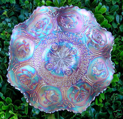 """MINT&PERF~ANTIQUE~c1911~""""FENTON""""CARNIVAL GLASS""""ELECTRIC""""RUBY RED""""DRAGON&LOTUS"""