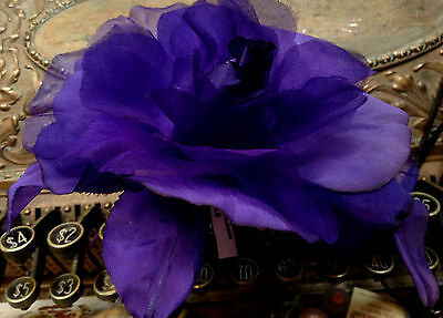 "VINTAGE silk org 6"" PURPLE ROSE CZECH FLOWER"