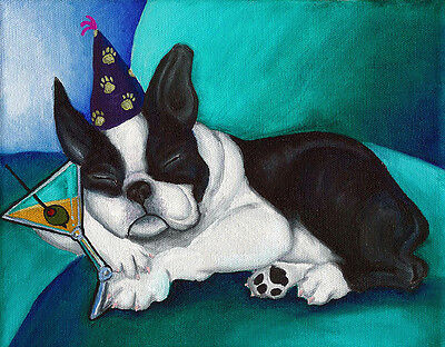 BOSTON TERRIER Party Dog art PRINT of Painting by VERN