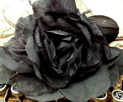 "VINTAGE silk organza 8"" BLACK XLarge ROSE CZECH FLOWER 1 pc 1950's"