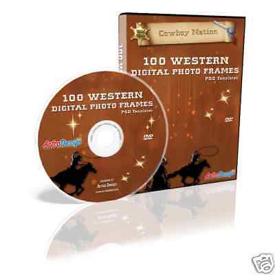 100 WESTERN COWBOY RODEO FRAME TEMPLATES PHOTOSHOP DVD
