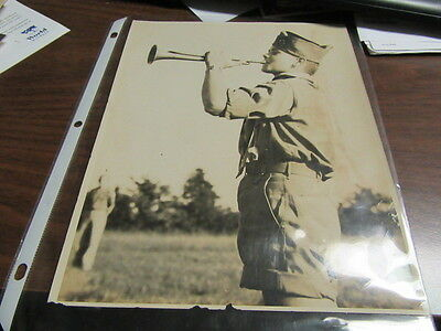 1950's Boy Scout playing bugle Photo               c27