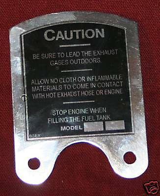 Maytag Gas Engine Model 92 Caution Plate New Repro Motor Tag Wringer Washer