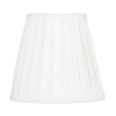 Livex 5 in. Wide Pleated Silk Clip On Chandelier Shade, White, White Fabric Lini
