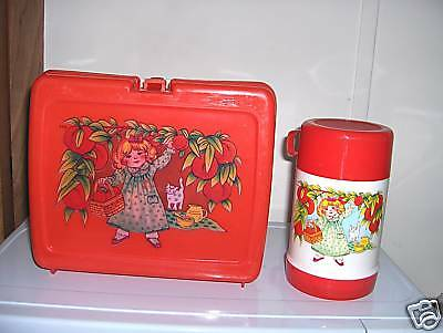 Girl Picking Fruit `Plastic Lunchbox & Thermos`New Stock,No Cracks-:>Free To US