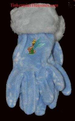 TINKER BELL EMBROIDERED BLUE ADULT GLOVES TINKERBELL
