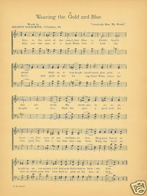 """DELTA UPSILON Fraternity Song Sheet c1921 """"Wearing the Gold and Blue"""" - Original"""