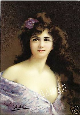 "VICTORIAN LADY in LILAC Gown *CANVAS* ASTI  Giclee Art Print - LARGE 13"" x 19"""