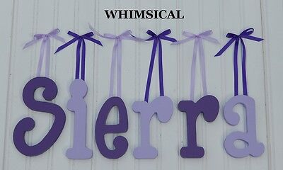 "6"" size Painted Wooden Wall Letters Wood Children Nursery Names Whimsical"