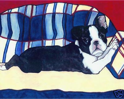 BOSTON TERRIER Couch Puppy Dog Art PRINT VERN Painting