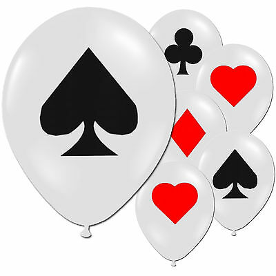 """12 Casino Nights Birthday Party Card Suit 11"""" Pearlised Latex Printed Balloons"""