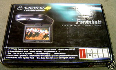 """NEW Farenheit T7007CMS 7"""" TFT-LCD Ceiling Mount Monitor"""
