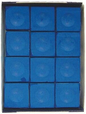 Silver Cup ELECTRIC BLUE Pool Billiard Cue Chalk (12 Pack)