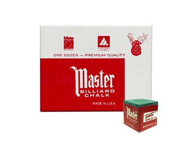 Master Billiard/Pool Cue Chalk - Green - 1 Pack/12 Pieces