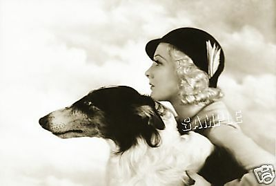 "Vintage 1930's LADY Dog BORZOI *CANVAS* Photo Giclee Art Print - LARGE 19"" x 13"""