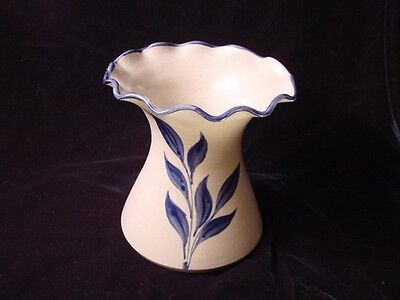 Williamsburg Pottery Vase - Art Pottery Ruffled Edge Blue Designed Vase