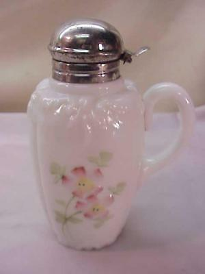 ANTIQUE SYRUP PITCHER JUG~VICTORIAN GLASS~FLORAL~HP