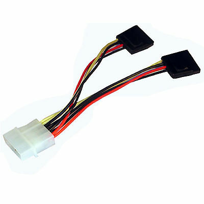 "Molex 5.25"" to 2 x Serial ATA SATA Power Splitter Cable"