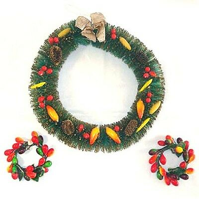 3 Bottle Brush and Lacquered Fruit Christmas Wreaths