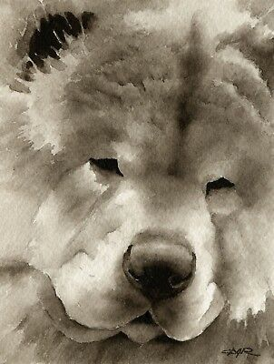 CHOW CHOW Dog Watercolor ART PRINT Signed by Artist DJR