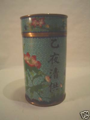19th C. CHINESE CLOISONNE ENAMEL ON BRONZE TEA CANISTER