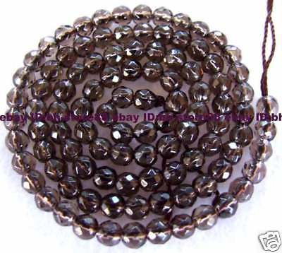 4mm Smoky Quartz Round Faceted Beads 15''