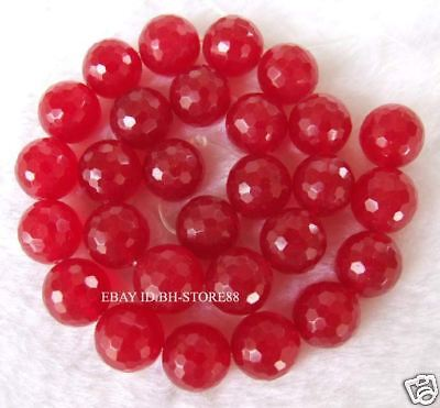 Cut Gemstone 14mm Red Jade Round Faceted Beads 14.5''