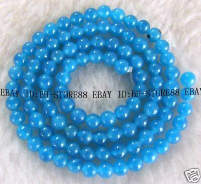 4mm Beautiful Blue Jade Round Beads 15''