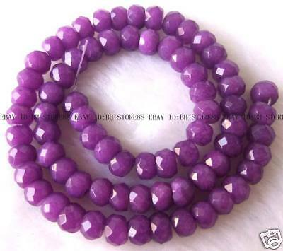 5x8mm Purple Jade Roundel Faceted Beads 15.5''