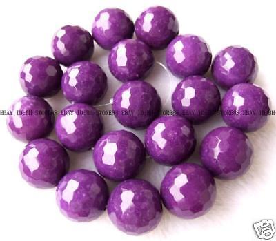 20mm Purple Jade Round Faceted Beads 15.5''