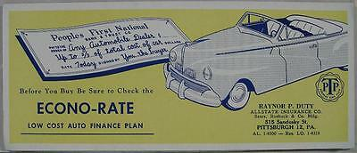 1930's~Ink Blotter~Econo-Rate Auto Lone~Peoples Bank