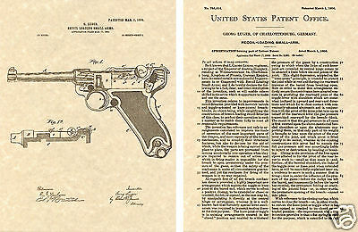 ** US PATENT for the  LUGER P 08 PISTOL Art Print READY TO FRAME!!! Georg