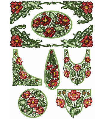 "ABC Designs 9 Poppies Lace Standalone Machine Embroidery Designs SET 5""x7"" Hoop"