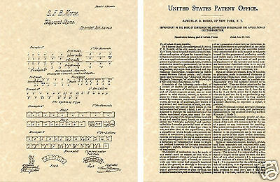 SAMUEL MORSE CODE US PATENT ART PRINT READY TO FRAME!!!! Vintage 1880 Document