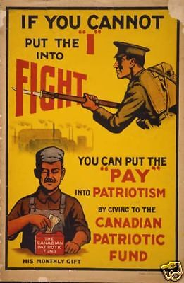 WWI Canadian Patriotic Fund Soldier 1915 Poster Canada