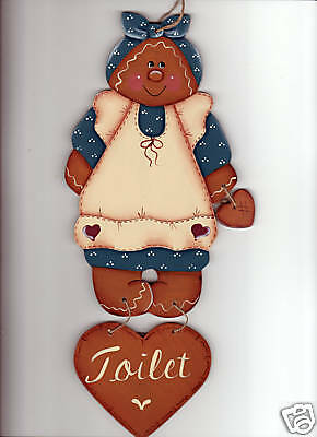 PAINTED..Gingerbread Toilet Sign