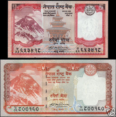 NEPAL - NEW 2009 EVEREST BANKNOTE 5 & 20 Rupees UNC