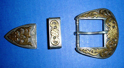 Western Rodeo Decor Silver/Gold Plated Belt Buckle Set
